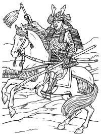 Самурай верхом на лошади Раскрашивать раскраски для мальчиков
