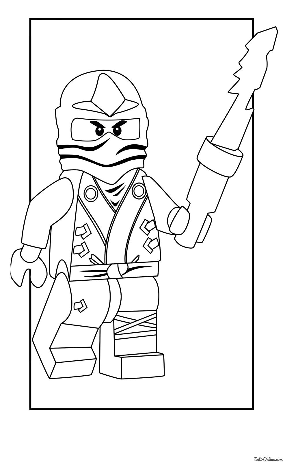 Самурай лего с мечом Раскраски для мальчиков бесплатно
