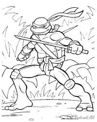 Черепашка ниндзя в лесу Раскраски для детей мальчиков