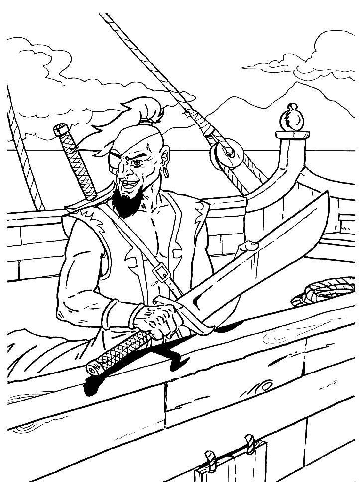 Пират с большим кинжалом Раскраски для детей мальчиков