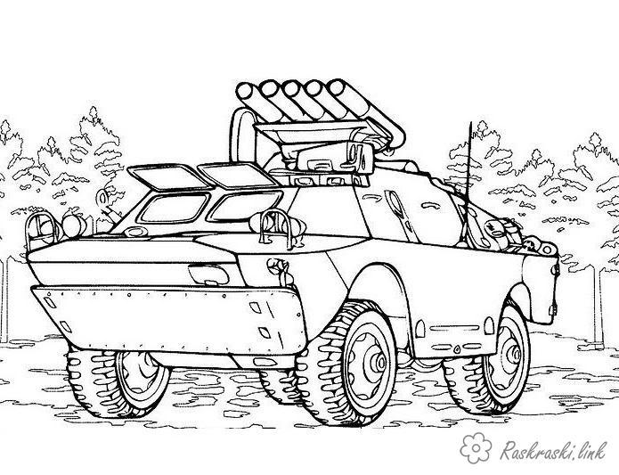 Пушки на машине Раскраски для мальчиков