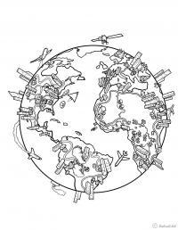 Спутники вокруг земли Раскрашивать раскраски для мальчиков