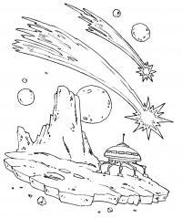 Космический корабль на обломке метеорита Раскрашивать раскраски для мальчиков