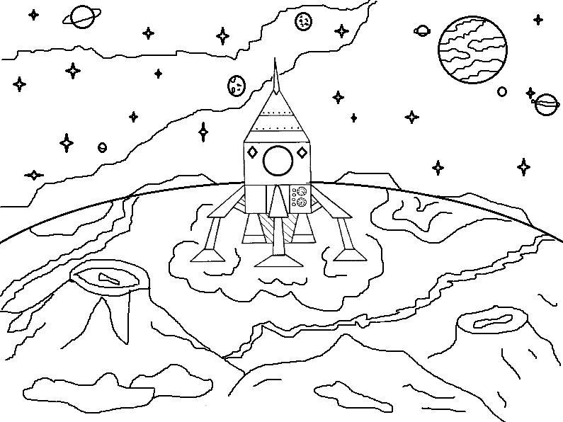 Корабль на марсе корабль марса планеты Скачать раскраски ...