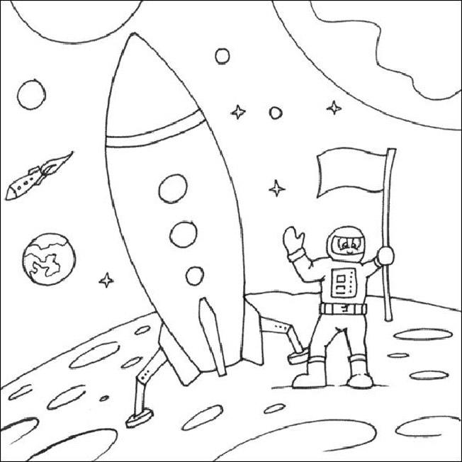 Космонавт приземлился на луну Раскрашивать раскраски для мальчиков