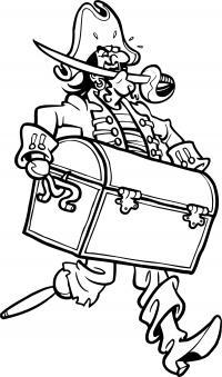 Пират бежит с мечом в зубах и сундуком Раскраски для мальчиков