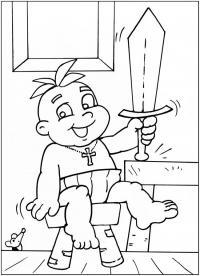 Маленький алеша попович с мечом Раскраски для мальчиков