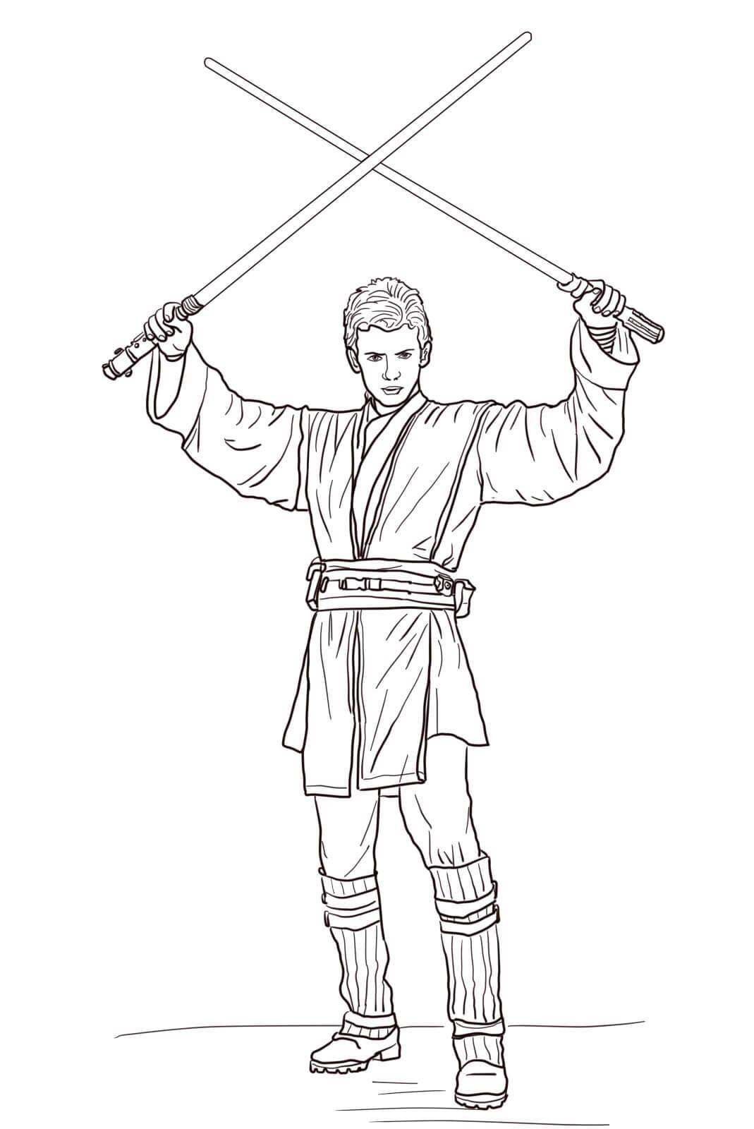 Воин с мечами Раскраски для мальчиков