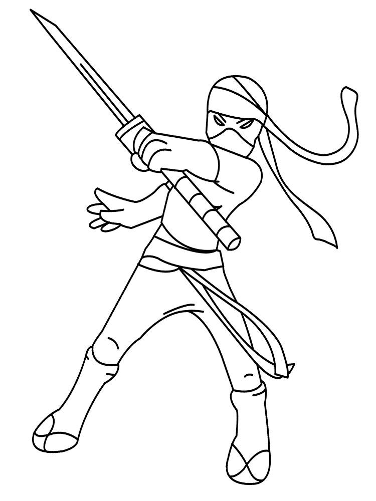 Ниндзя с мечом Раскраски для мальчиков