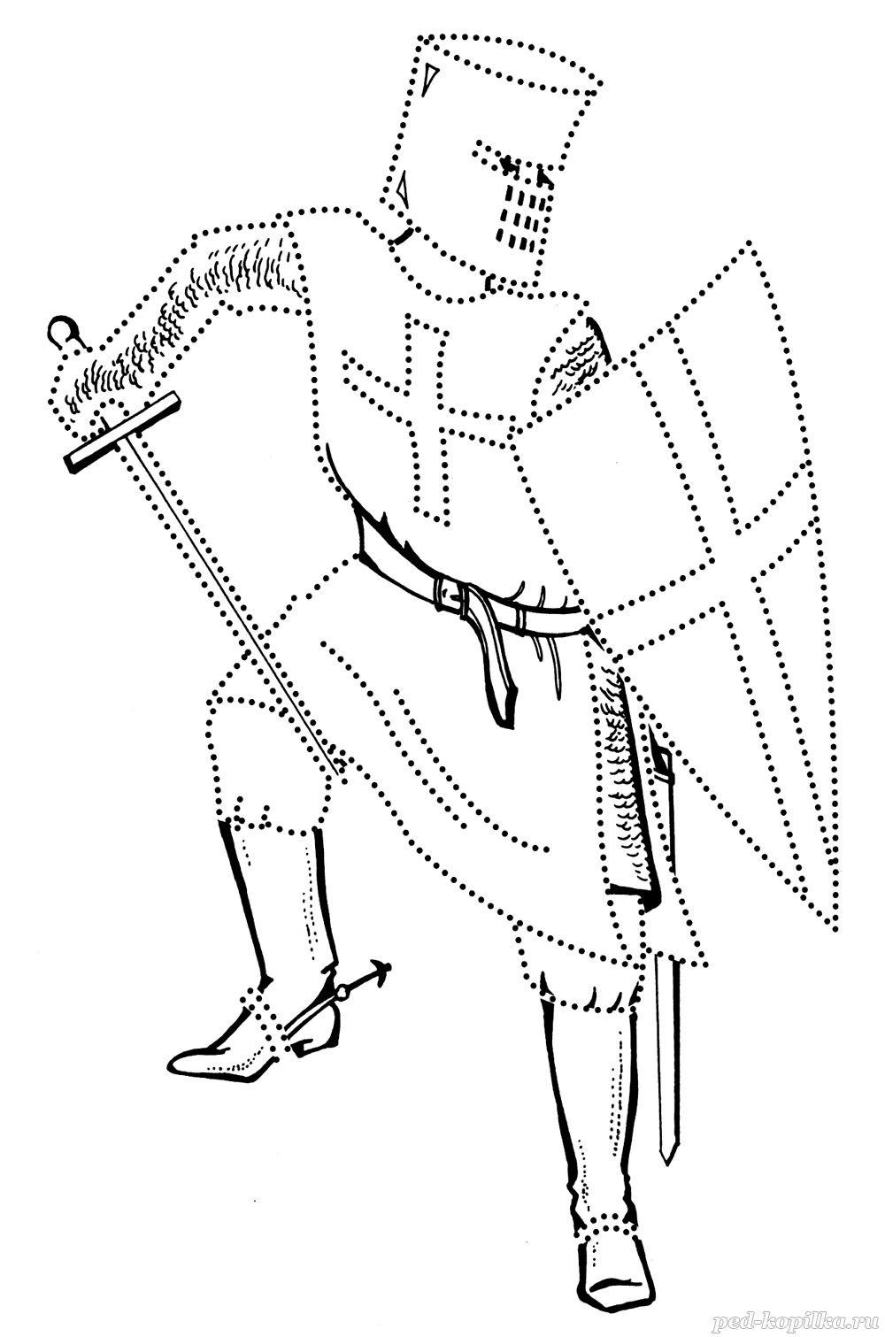 Крестоносец с мечом Раскрашивать раскраски для мальчиков