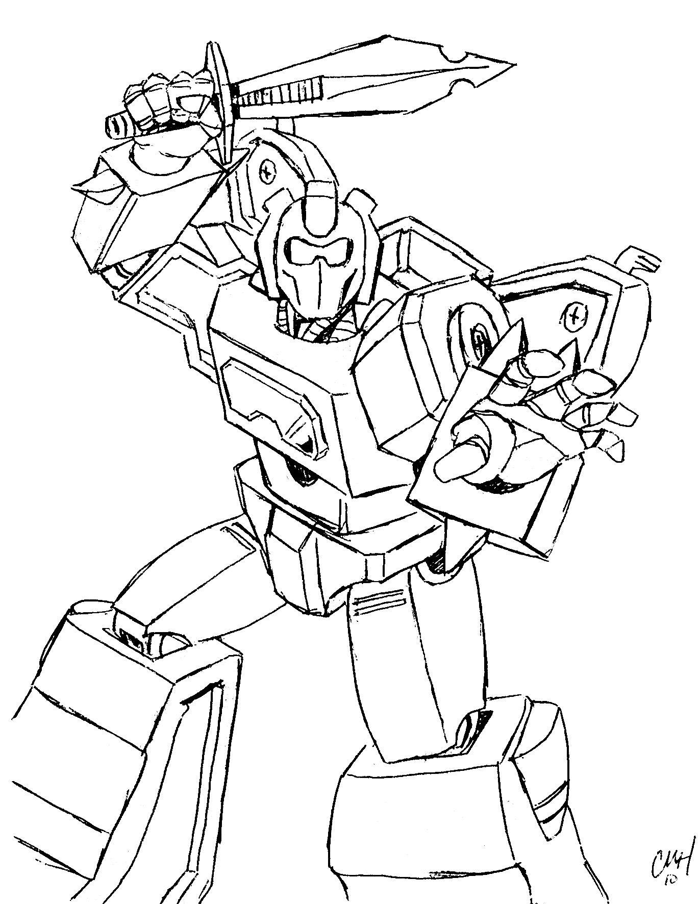 Большой робот с мечом Раскраски для детей мальчиков