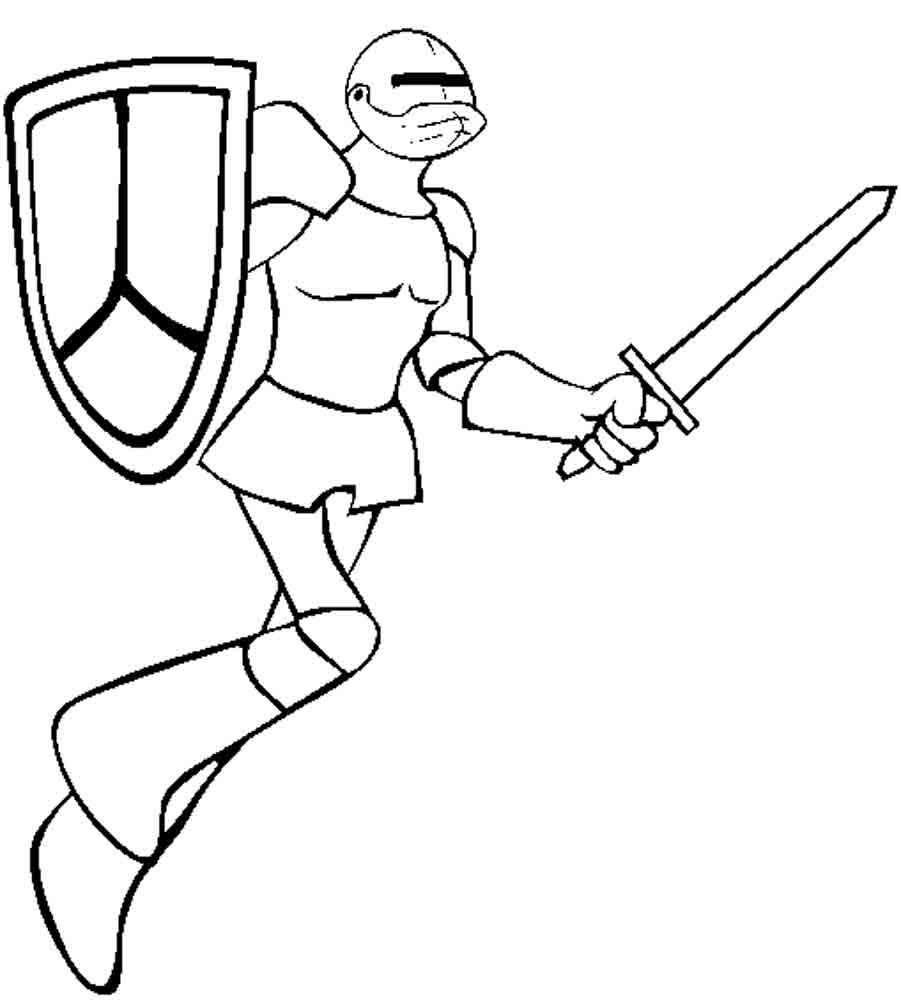 Рыцарь с мечом Раскраски для мальчиков бесплатно