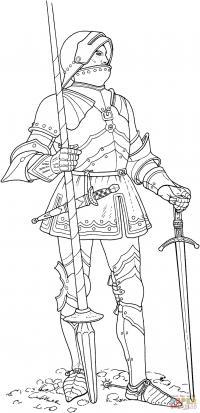 Рыцарь с копьем и мечом Раскрашивать раскраски для мальчиков