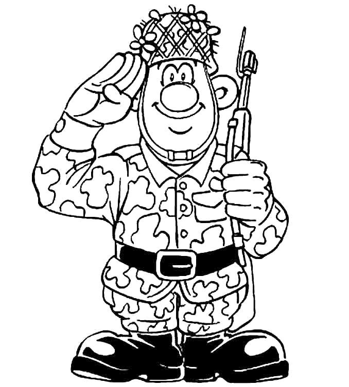 Солдат отдает честь Раскрашивать раскраски для мальчиков