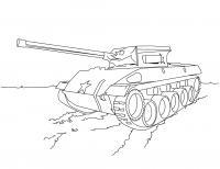 Советский танк на поле Раскраски для мальчиков бесплатно