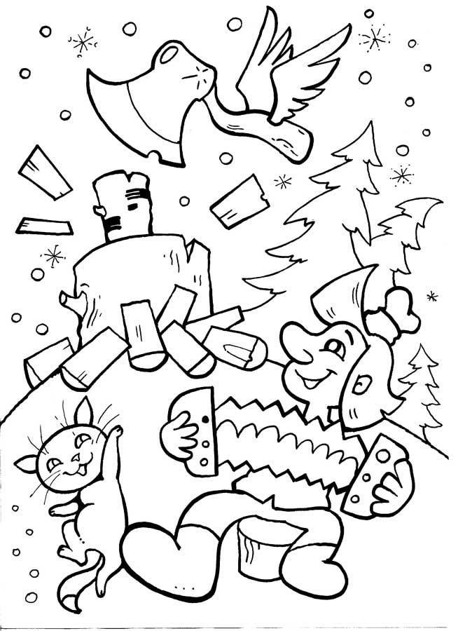 Топор рубит дрова Раскраски для детей мальчиков