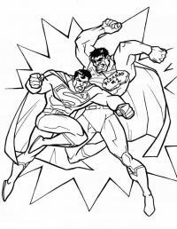 Супермен в схватке со злодеем Раскраски для мальчиков