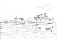 Подводная лодка и корабль Раскрашивать раскраски для мальчиков