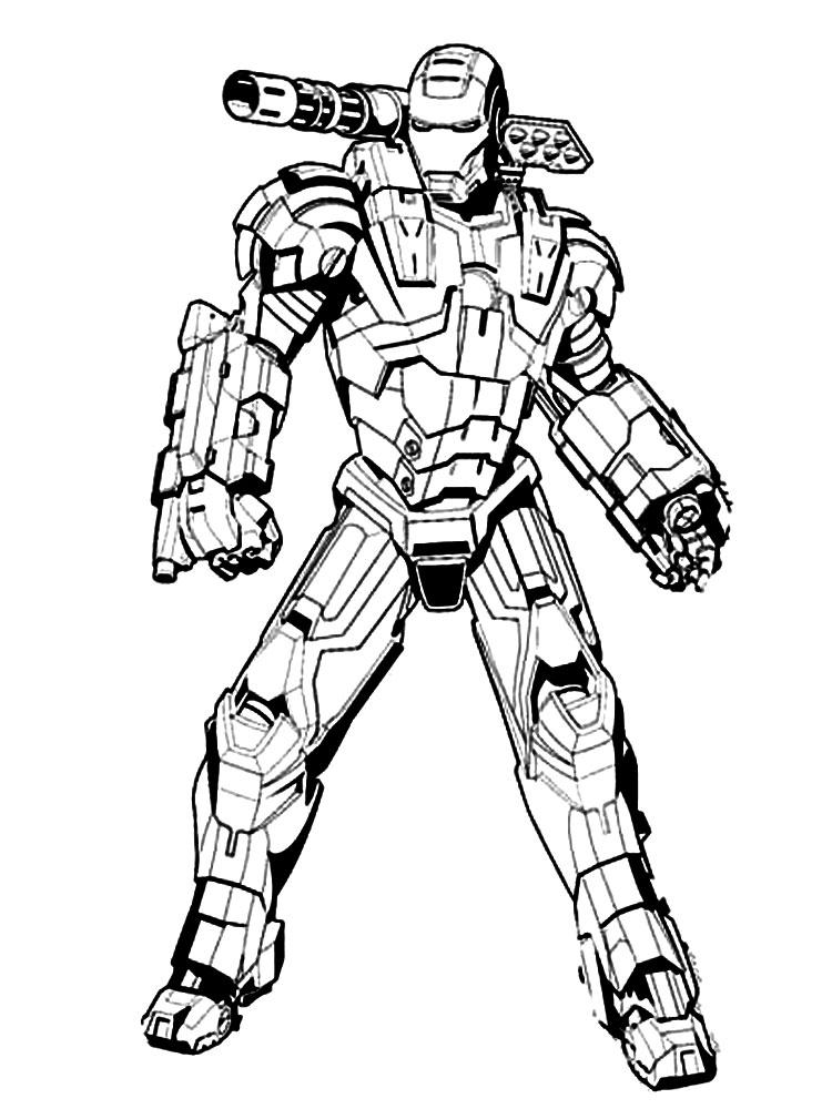 Военный робот с пулеметом Раскраски для детей мальчиков