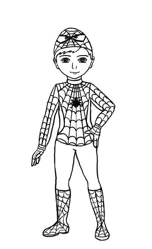 Мальчик в костюме человека паука Раскраски для мальчиков