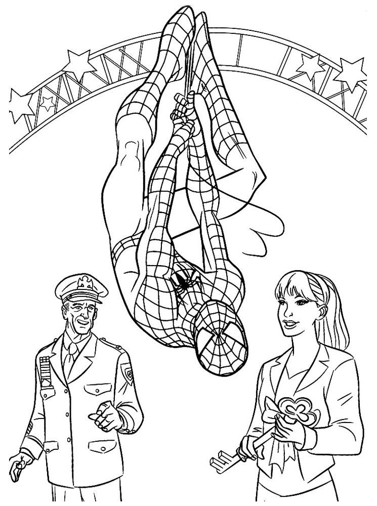 Человек паук получает награду Раскраски для мальчиков