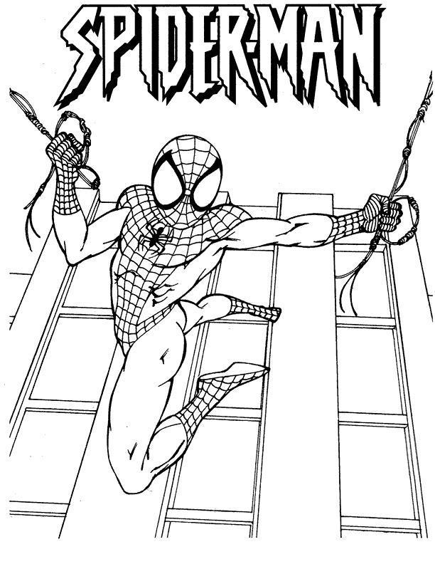 Человек паук в прыжке Раскраски для мальчиков
