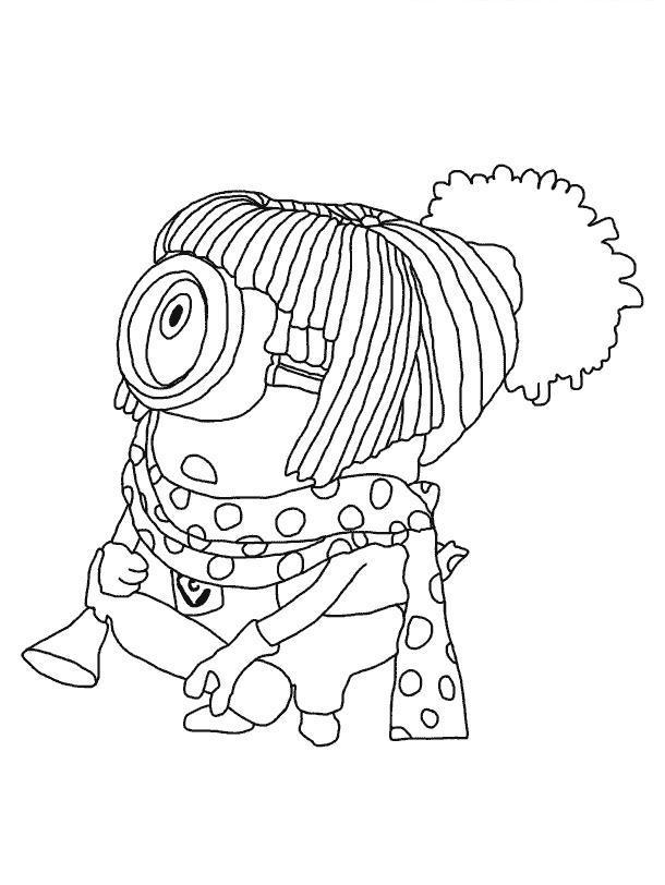 Миньон в шарфике Раскраски для детей мальчиков