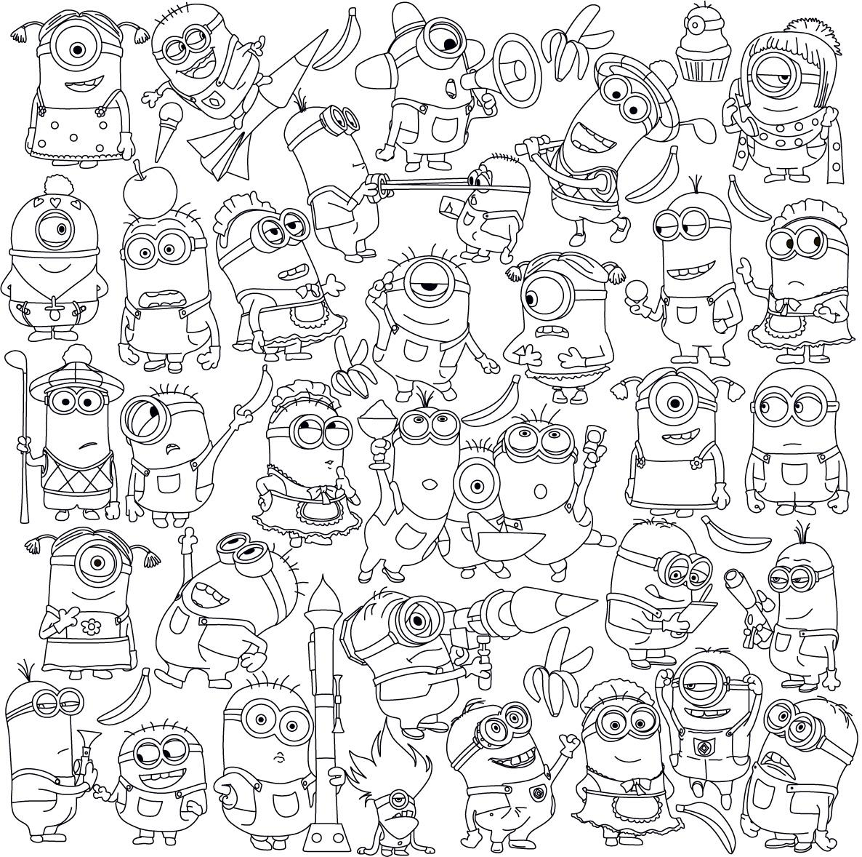 Миньоны разные Раскраски для детей мальчиков