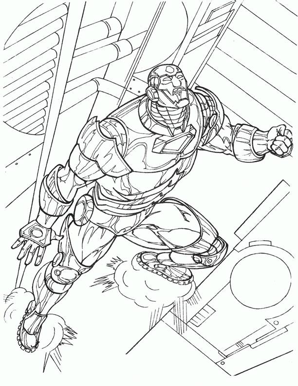 Железный человек поднимается на верх Раскраски для мальчиков