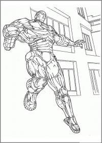 Железный человек в городе Раскраски для мальчиков