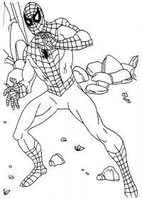 Человек паук среди камней Раскраски для мальчиков