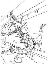 Человек паук сражается с зеленым гоблином Раскраски для мальчиков