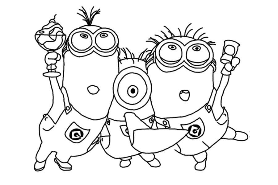 Миньоны празднуют Раскраски для детей мальчиков