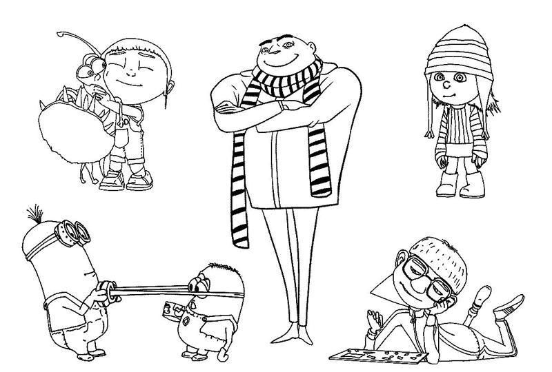 Персонажи мультфильма гадкий я Раскраски для мальчиков бесплатно