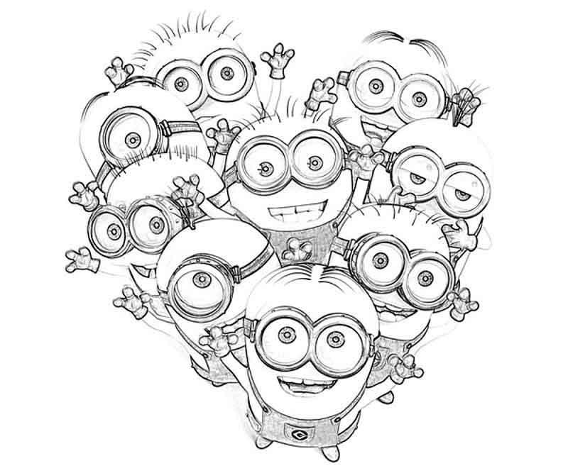 Сердце из миньонов Раскраски для детей мальчиков