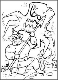Добрыня сражается с темным царством Скачать раскраски для мальчиков