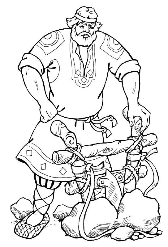 Богатырь с плугом Раскраски для детей мальчиков