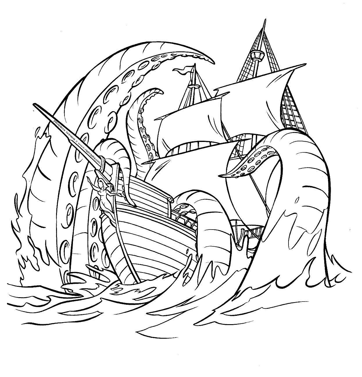 Морское чудовище топит корабль Скачать раскраски для мальчиков
