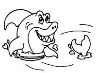 Акула с торчащим из воды хвостом Раскраски для мальчиков бесплатно