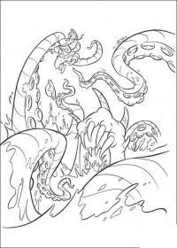 Морское чудовище поймало человека Скачать раскраски для мальчиков