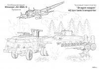 Бомбардировщик и транспортер Раскраски для мальчиков