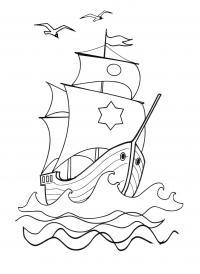 Чайки над кораблем Раскраски для мальчиков