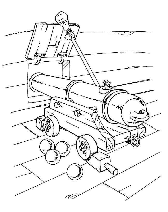 Старая пушка на корабле Раскрашивать раскраски для мальчиков