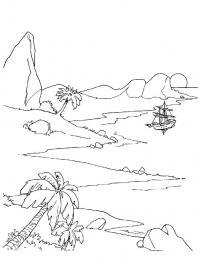 Корабль возле острова Раскраски для мальчиков