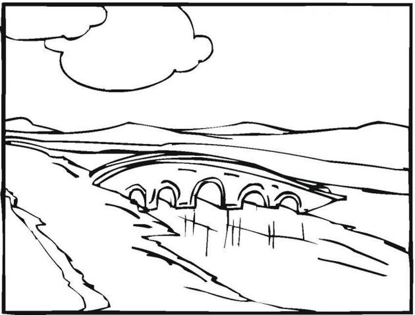 Мост в горах Раскраски для детей мальчиков