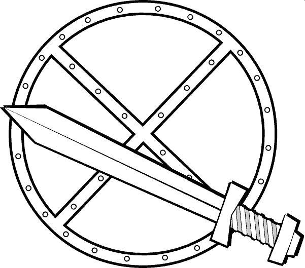 Щит и меч щит меч Раскраски для мальчиков