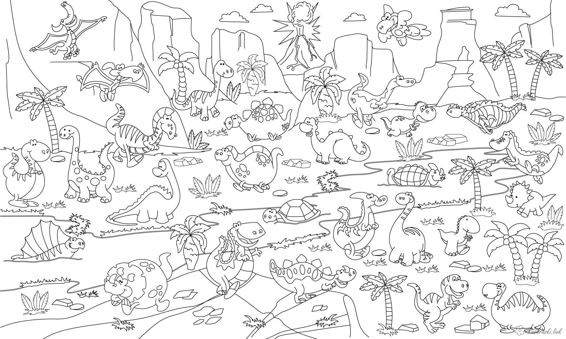 Динозаврики в джунглях Раскраски для мальчиков