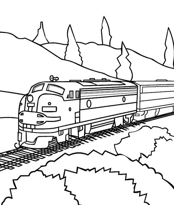 Поезд едет через горы Раскраски для детей мальчиков