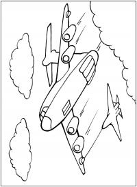 Самолет и истребитель Раскраски для мальчиков бесплатно