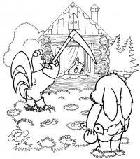 Петух, заяц и лис Раскраски для детей мальчиков